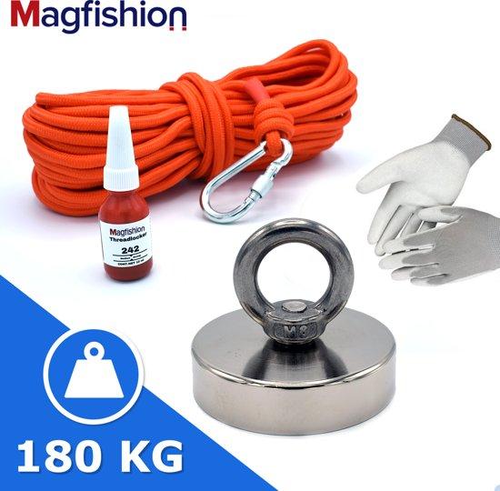 Vismagneet - 110 kg Trekkracht - Onderwater Magneetvissen - 10 Meter Touw - Karabijnhaak