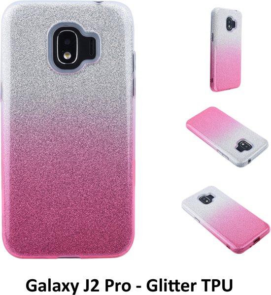 Kleurovergang Roze Glitter TPU Achterkant voor Samsung Galaxy J2 Pro -Zacht en duurzaam - TPU
