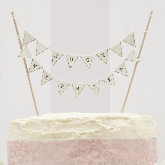 Gingerray Taarttopper Vintage Lace Just Married - ivoor - OP = OP Valentinaa