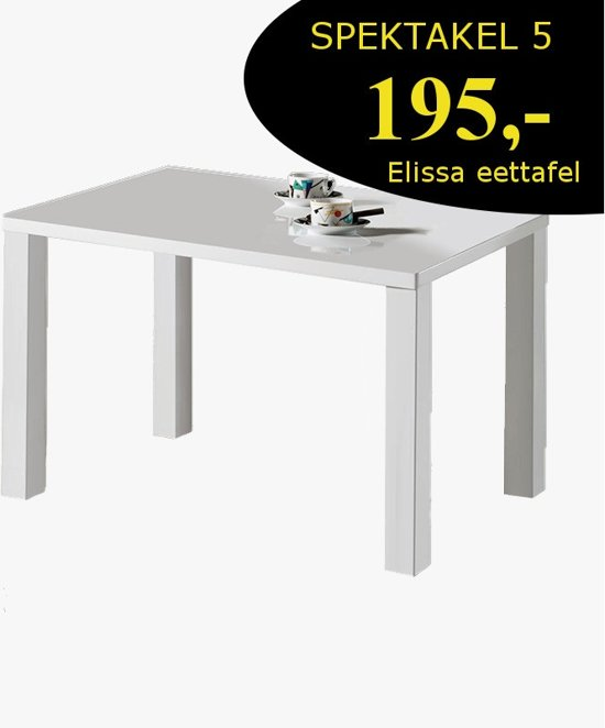 Eettafel Hoogglans Wit 120.Bol Com Elissa Eettafel Wit Hoogglans 120x80