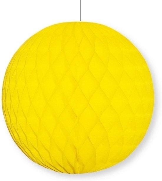 Decoratie bol geel 10 cm papieren kerstbal - Decoratie geel ...