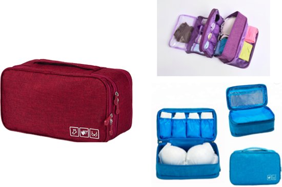 CoshX Ondergoed reis tas rood - Lingerie organizer - Beha tas - packing cube ondergoed