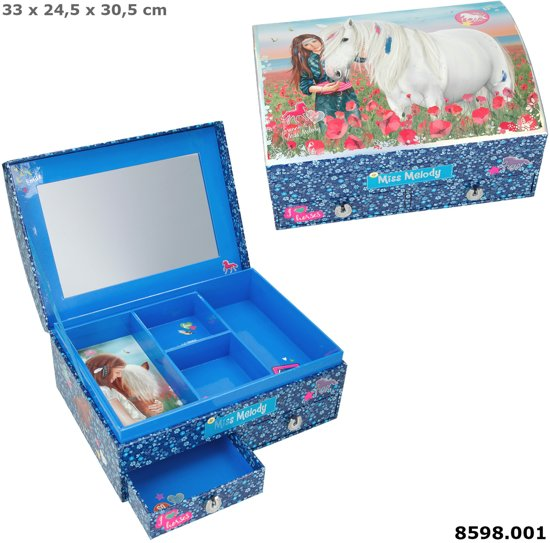 Sieradendoos - Miss Melody - Blauw - 20,2 x 15,1 x 10,4 cm