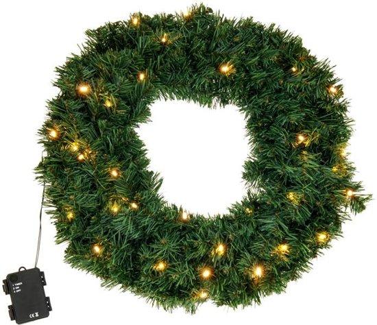 Kerstkrans met LED verlichting 50 cm Valentinaa