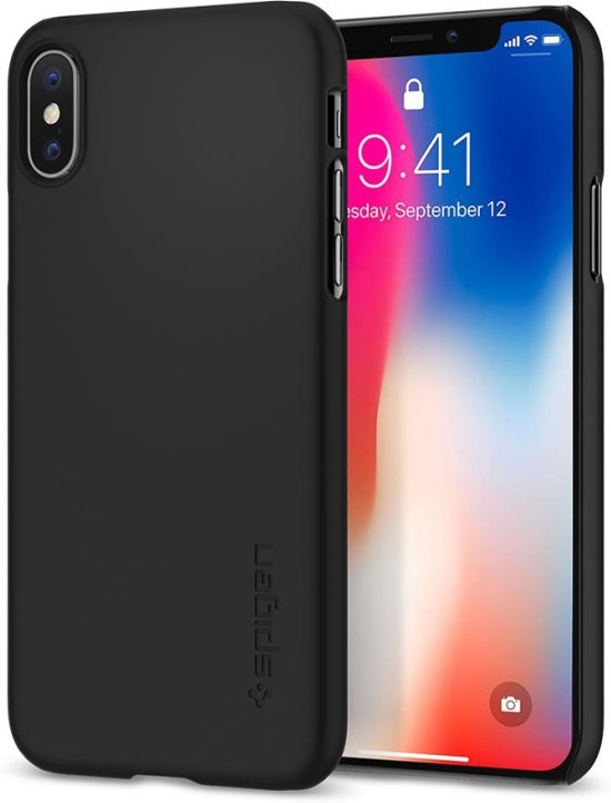 quality design bbd46 14dd2 Spigen iPhone X Case Thin Fit - Mat Zwart