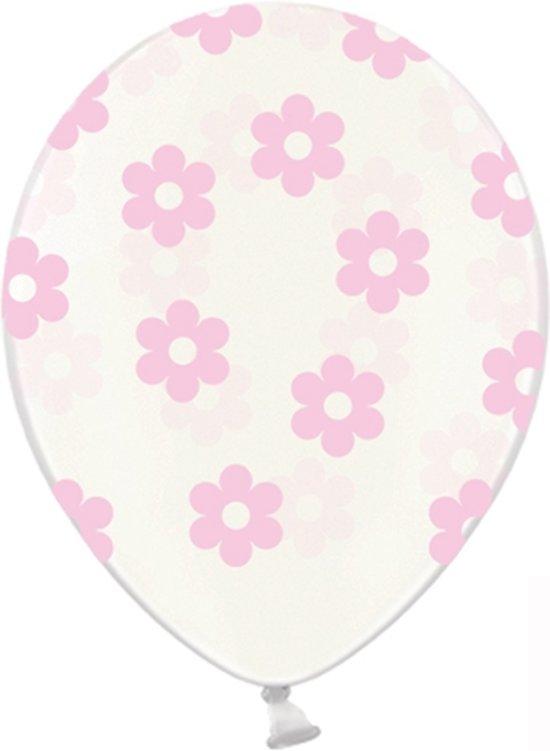 Ballonnen clear bloemen roze 10 stuks