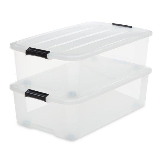 IRIS Topbox onder-het-bed - 40 l - Kunststof - Transparant - 2 stuks