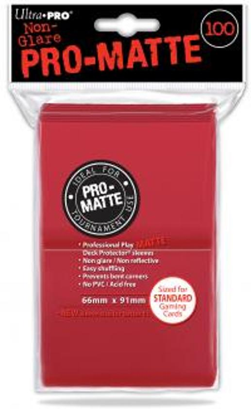Afbeelding van het spel 100 Pro-Matte Standard Size Red Sleeves for Card Games