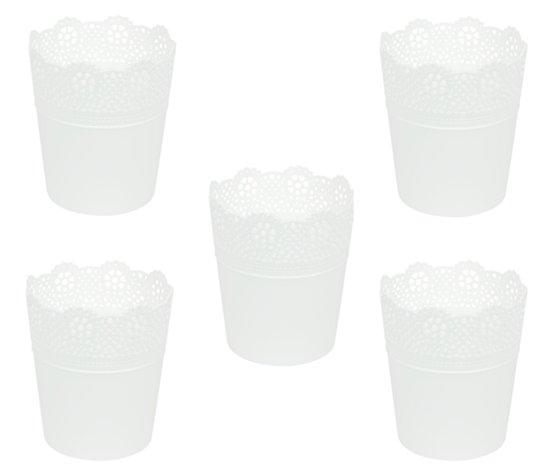Bloempot Binnen Wit.Bol Com Bloempot Binnen Rond Lace 11cm Wit Prosperplast 5 Stuks