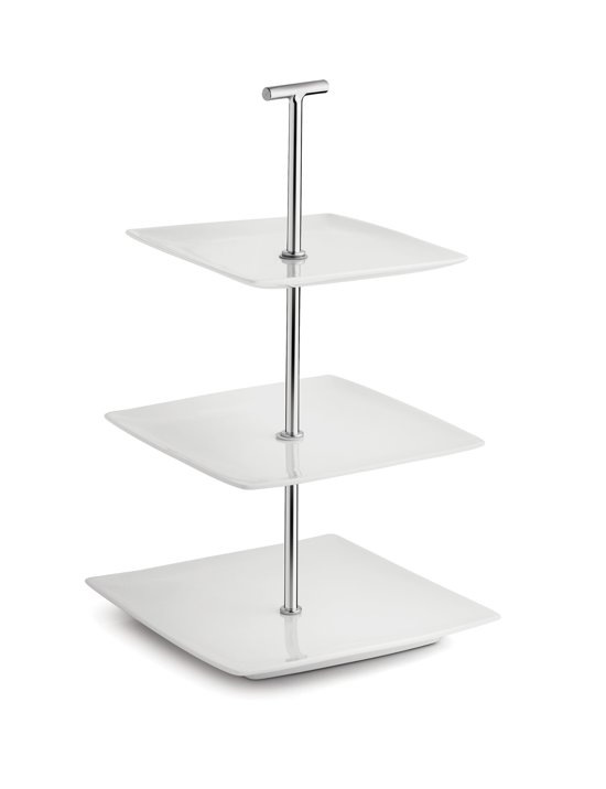 Yong Squito Serveertoren - 3-delig 20 x 20 cm - Porselein - Wit