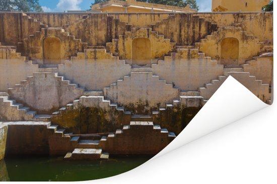 De Indiase Panna Meena ka Kund trappenhuizen in Jaipur Poster 120x80 cm - Foto print op Poster (wanddecoratie woonkamer / slaapkamer)
