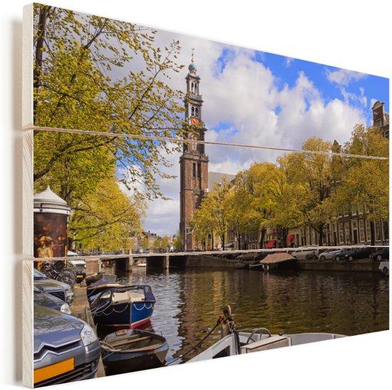 Uitzicht op een kerk vanaf de Prinsengracht in Amsterdam Vurenhout met planken 40x30 cm - klein - Foto print op Hout (Wanddecoratie)