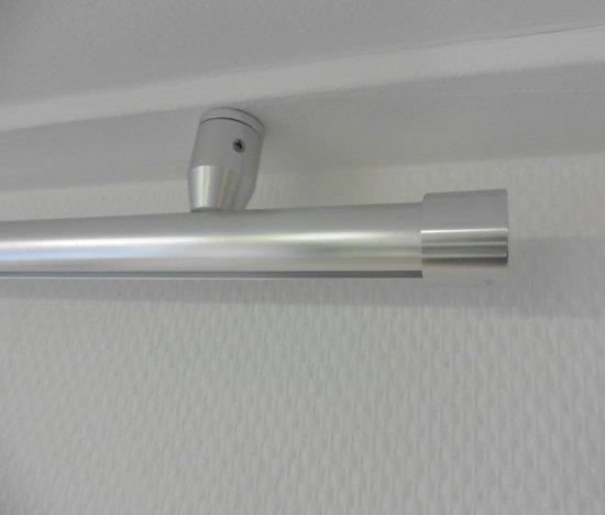 sleep gordijnroede gordijnrail flexibel systeem voor ophangen van gordijnen en vitrage 160 cm met plafondsteunen