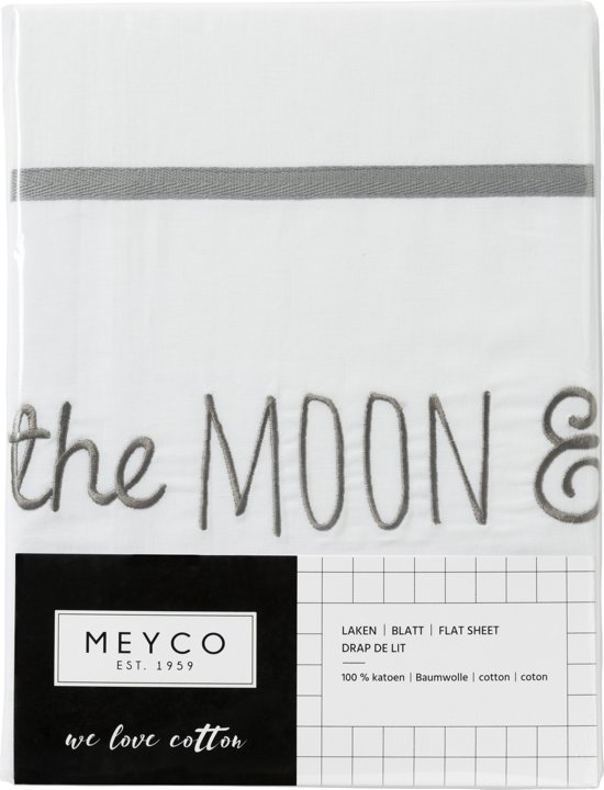 Meyco ledikantlaken Love you to the moon & back grijs 100 x 150 cm