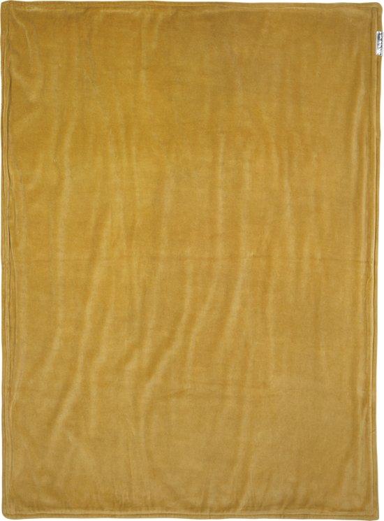 Meyco ledikantdeken Knit Basic met velvet - 100x150 cm - okergeel