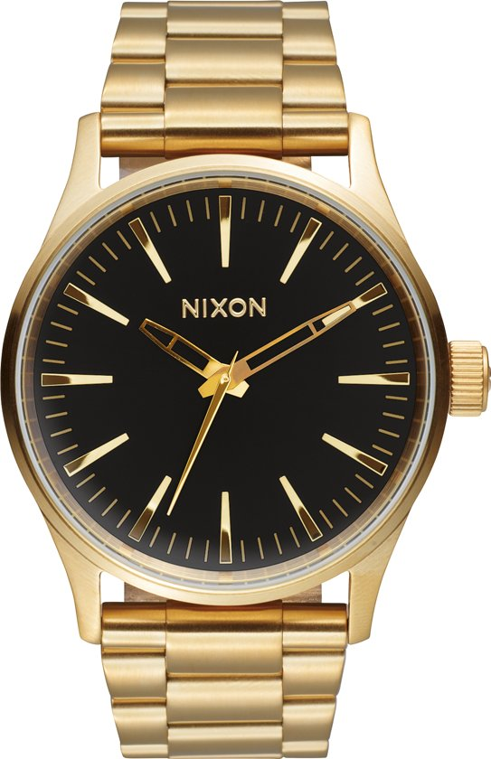 Nixon A4501604 Sentry 38 SS gold / black sunray - Horloge - 38mm - Goud