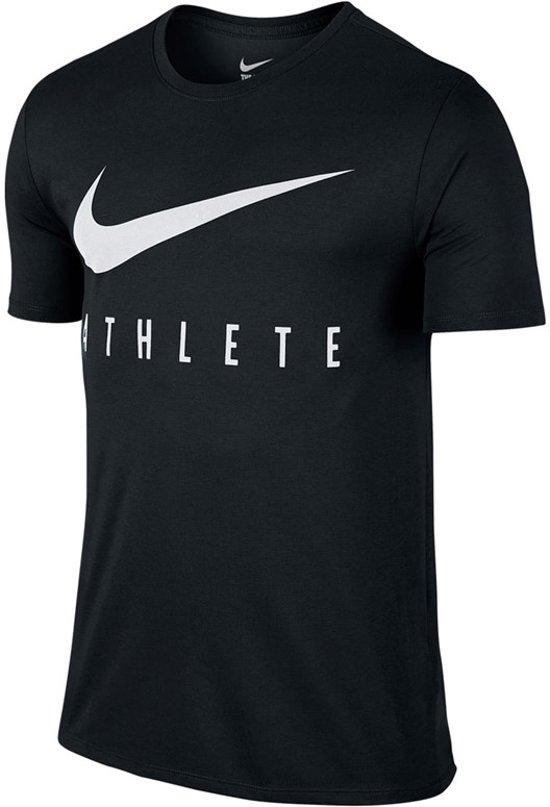 Nike Dry Training T-shirt Heren Sportshirt - Maat L  - Mannen - zwart/wit