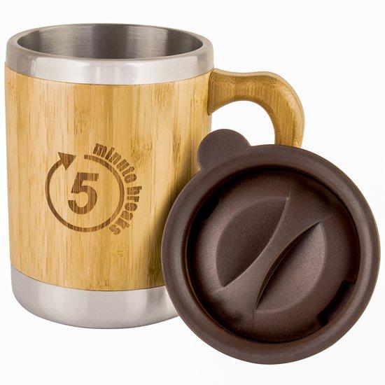 Koffietas gemaakt van bamboe – isolerende tas met deksel voor warme of koude dranken – inhoud van 280 ml