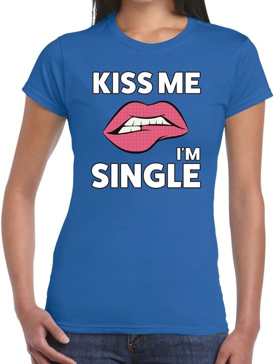 Kiss me I am Single t-shirt blauw dames S