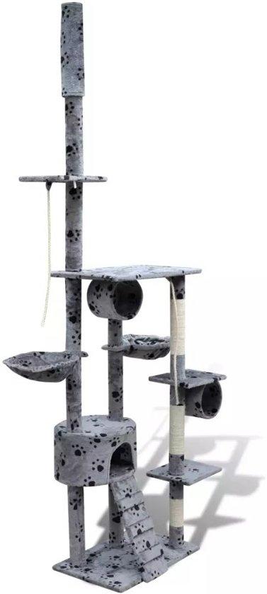 Krabpaal Tommie - 220/240 cm 1 huisje - Grijs met pootafdrukken