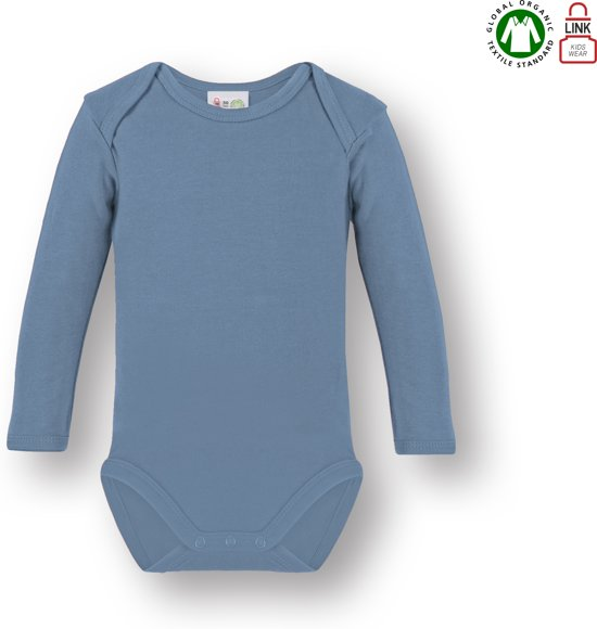 Link Kidswear Unisex Romper GOTS - Blauw - Maat 50/56