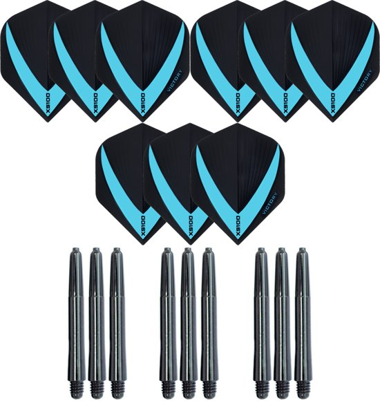 3 sets (9 stuks) Super Sterke – Aqua - Vista-X – darts flights – inclusief 3 sets (9 stuks) - medium - darts shafts