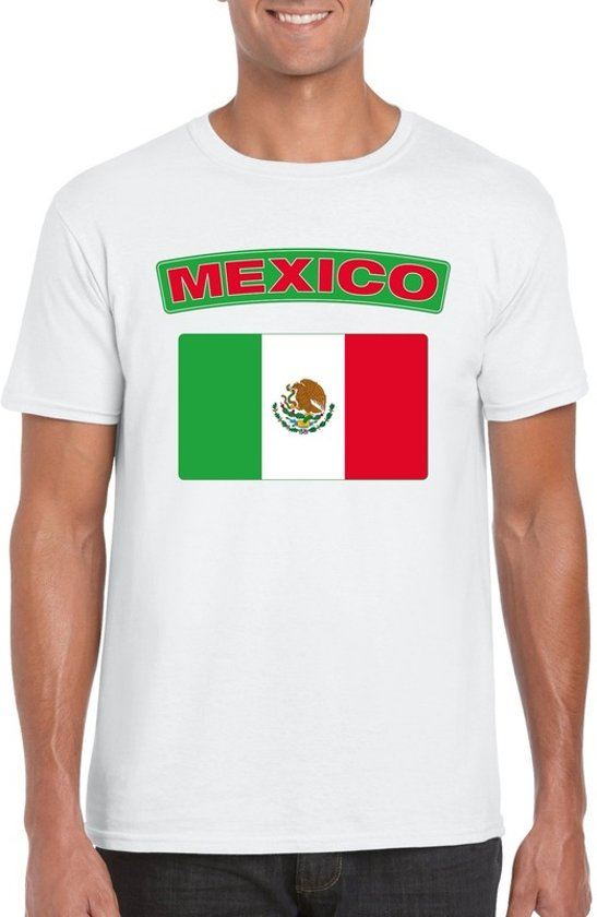 Mexico t-shirt met Mexicaanse vlag wit heren - maat L