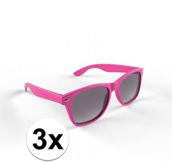 cfbb14a92f0d50 3x Hippe roze zonnebrillen voor volwassenen
