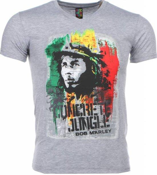 Mascherano T-shirt - Bob Marley Concrete Jungle Print - Grijs - Maat: L