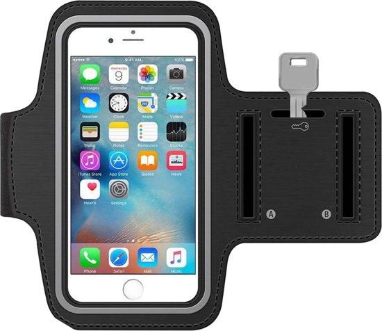 MMOBIEL Sport / Hardloop armband (ZWART) voor iPhone SE / 5S / 5C / 5 / 4S / 4 / 3GS Spatwatervrij, Reflecterend, Neopreen, Comfortabel, Verstelbaar, Koptelefoon Aansluitruimte en Sleutelhouder!