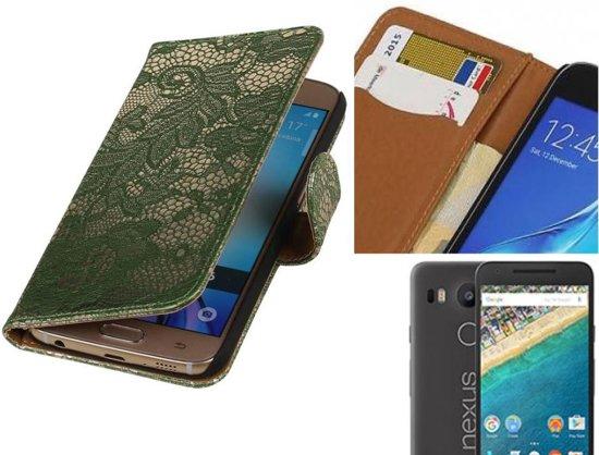 MP Case Lace Bookstyle Hoes voor LG Nexus 5X Donker Groen in Heijen