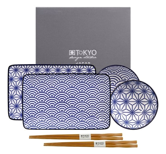 Tokyo Design Studio Nippon Blue Sushi Servies - Porselein - 6 delig - 2 persoons
