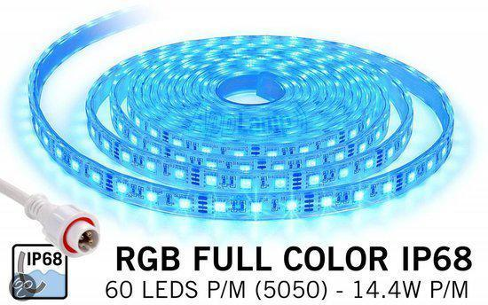 waterdichte rgb led strip ip68 met 300 rgb leds 12v 72w