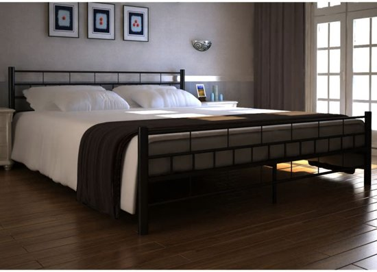 Bol.com vidaxl zwart metalen bed 180 x 200 cm met memory foam matras