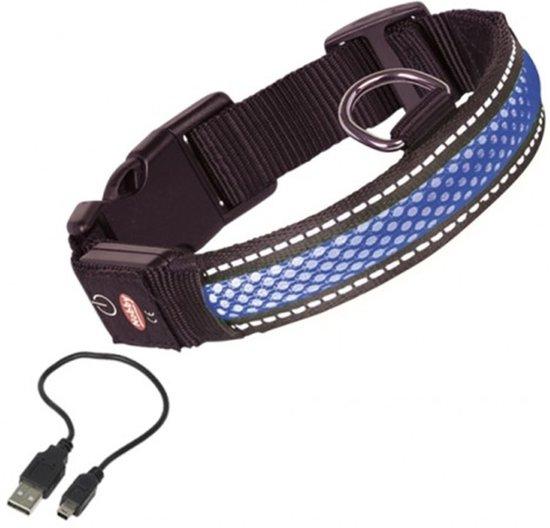 nobby verlichte halsband hond oplaadbaar halsomtrek 36 tot 51 cm blauw
