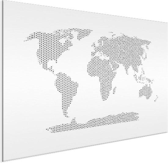 Wereldkaart kruisjes en plusjes zwart/wit aluminium 120x80 cm | Wereldkaart Wanddecoratie Aluminium
