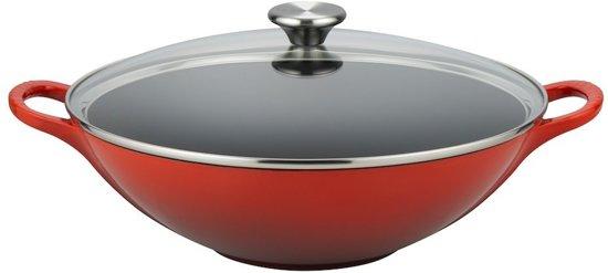 Gietijzeren wok in Kersenrood 3,8l 32cm