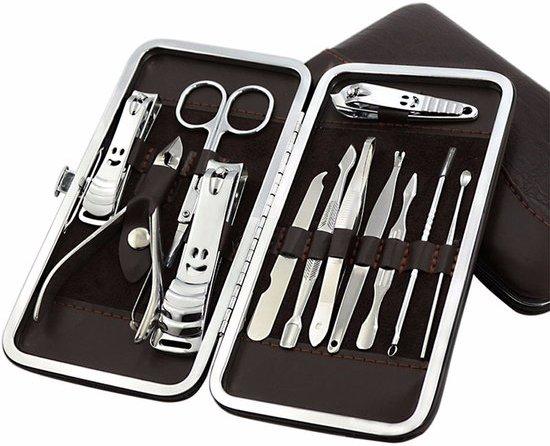 French Manicure & Pedicure Set - RVS Nagel Verzorging Set In Lederen Etui - Reisset Met Bokkenpoot