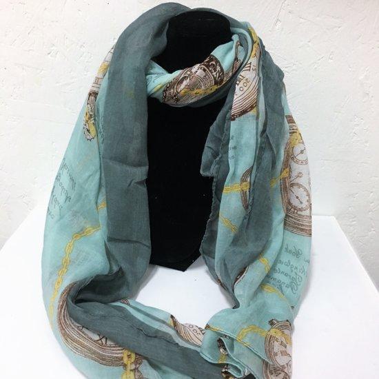 Fashionidea - Mooie zijde zachte mint kleurige sjaal met sierlijke horloge prints en teksten