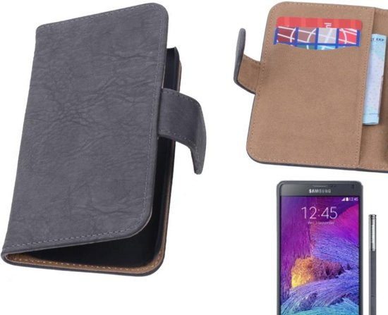 MP Case Bark Bookstyle Hoes voor Galaxy Note 4 N910F Grijs in Lierde