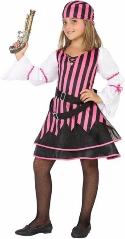 Piraten jurkje / kostuum voor meisjes roze 104 (3-4 jaar)