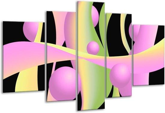 Glasschilderij Art   Zwart, Groen, Paars   170x100cm 5Luik   Foto print op Glas    F005572