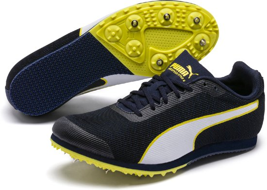 PUMA Evospeed Star 6 Junior Hardloopschoenen Unisex - Peacoat / Puma Black / Blazing Yellow - Maat 38