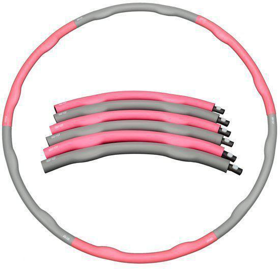 Weight hoop Original - Fitness Hoelahoep - Met DVD - 1.5kg - Ø 100 cm - Roze/Grijs