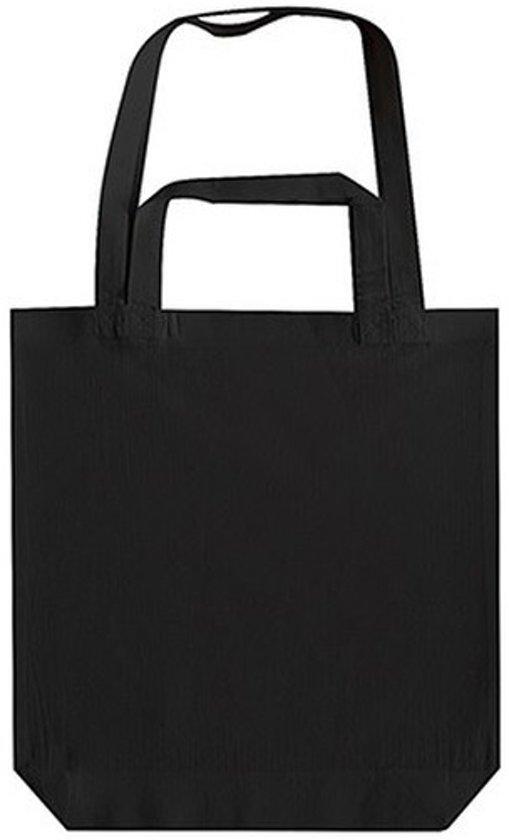 fd0c1f034f4 Zwarte canvas tas met dubbel hengsel 38 x 42 cm- Bedrukbare katoenen tas/ shopper