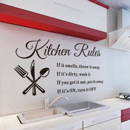 Muursticker Kitchen rules | Muursticker keuken regels | Muursticker in keuken | Keuken muursticker | Afmeting L57 x B33 cm