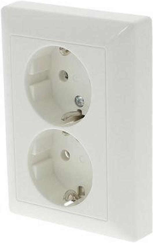 Jung AS500 Inbouw Stopcontact met Randaarde - 2-voudig - Polarwit