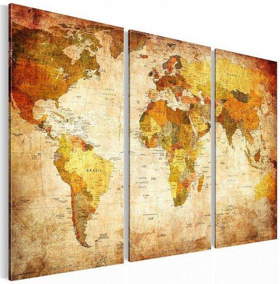 bolcom canvasdoek 3delig wereldkaart a 120x80 cm foto