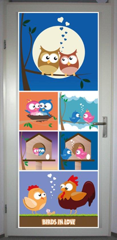 Deurposter 'Birds in Love' - deursticker 75x195 cm