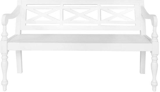 vidaXL Bank Batavia 136 cm massief mahoniehout wit